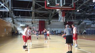 Alley-oop victorious over Pennsylvania Rens, 57-56
