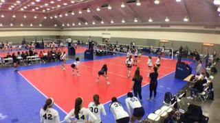 The St. James 18 White (CH) (14) wins 2-1 over VolleyFX 18 Mystery (WE) (45)
