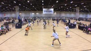 Team Momentum 14 Navy (MO) gets a goose egg from Motion Volleyball 14 BLUE (WI) in 2-0 shutout win